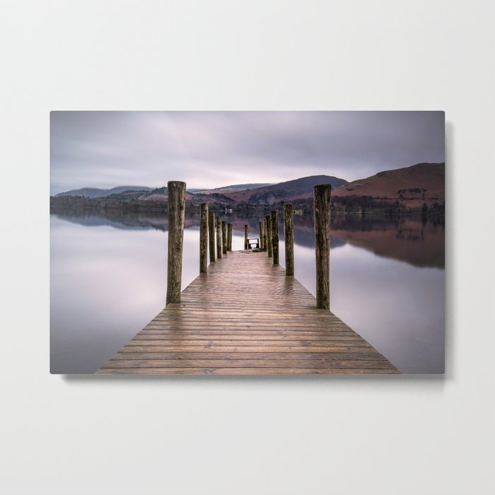Lake View with Wooden Pier Metal Print