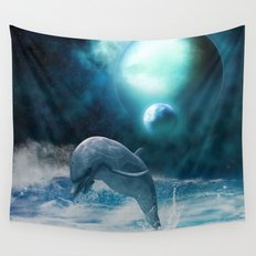 Freedom of dolphins Wall Tapestry