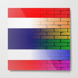 Gay Rainbow Wall Thai Flag Metal Print