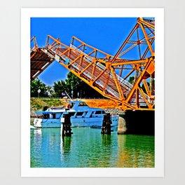 Sacramento Delta Draw Bridge Art Print