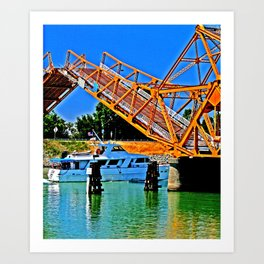 Sacramento Delta Draw Bridge Art Print