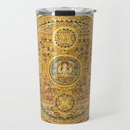 Buddhist Gold Avalokiteshvara Mandala Thangka Travel Mug