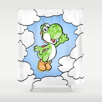 yoshi Shower Curtains featuring Yoshi in the sky !  by Art & Be