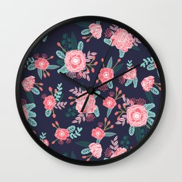 Peony floral bouquet navy pink bright happy flowers dorm college office decor must have pattern Wall Clock