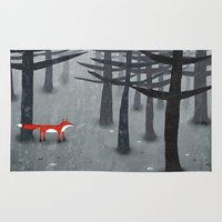animals Area & Throw Rugs featuring The Fox and the Forest by Nic Squirrell