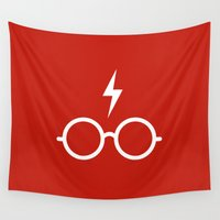 harry potter Wall Tapestries featuring Harry Potter Minimal by cat&wolf