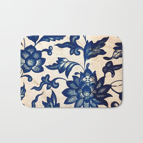 Blue Oriental Vintage Tile 06 Bath Mat