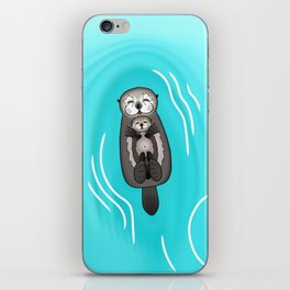 Mother and Pup Sea Otters - Mom Holding Baby Otter iPhone Skin