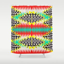 Tribal Beat Geo Neon Shower Curtain