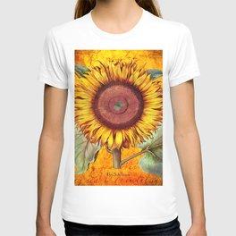 Vintage Botanical Sunflower Collage Art T-shirt