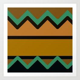 Gold, Turquoise, and Black Chevron Design Art Print
