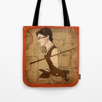 potter Tote Bags featuring James Potter by Imaginative Ink