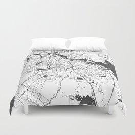 Amsterdam White on Gray Street Map Duvet Cover
