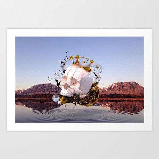 3D ABSTRACT - GOLD - GLASS - OIL - PORCELAIN Art Print