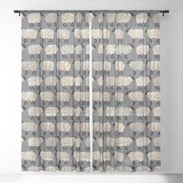 Wee Wooly Sheep in Aran Sweaters  Sheer Curtain