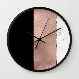 Rose metallic striping - marble and onyx Wall Clock