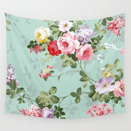 Elegant chic pink green roses flowers pattern Wall Tapestry