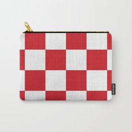 Large Checkered - White and Fire Engine Red Carry-All Pouch