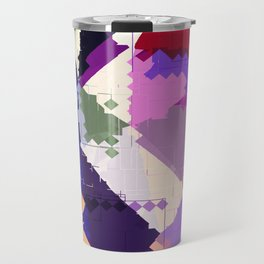 geometric square pixel and triangle pattern abstract in pink purple blue Travel Mug