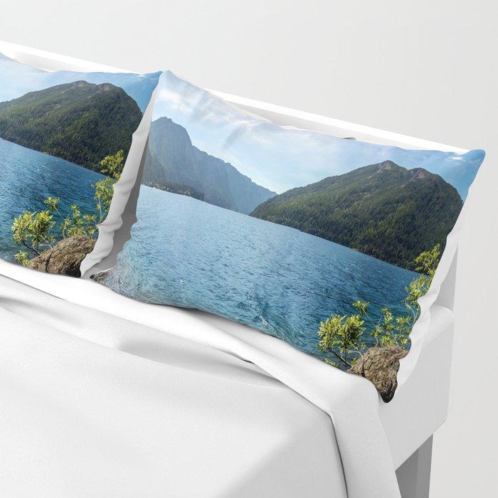 Lake Crescent Olympic Mountain Pano Pillow Sham