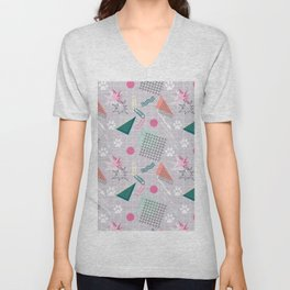 Memphis.Colorful retro pattern.2 Unisex V-Neck