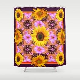 Western Style Burgundy Sunflower Art in Pink Shower Curtain