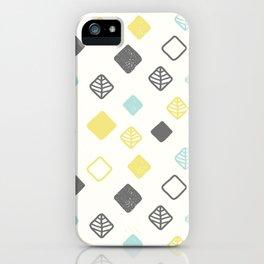 Aqua gray yellow abstract geometrical diamond pattern iPhone Case