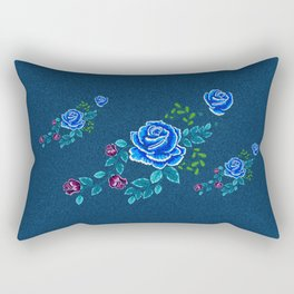 Blue Embroidery Rose Rectangular Pillow