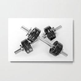 Crossed chrome hand barbells weights Metal Print