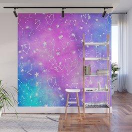 White constellation universe pattern zodiac on purple blue nebula space watercolor Wall Mural