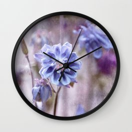 Columbines blue Wall Clock