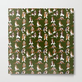Basset Hounds on Moss Metal Print