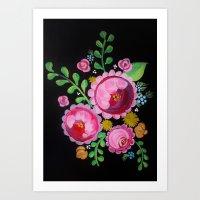 Folk Art Flowers on Black Wood Art Print