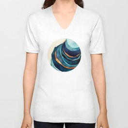 Abstract Blue with Gold Unisex V-Neck