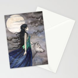 Night of the Wolf Fantasy Art Illustration by Molly Harrison Stationery Cards
