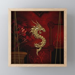 Wonderful golden chinese dragon Framed Mini Art Print