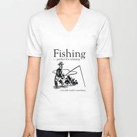 fishing V-neck T-shirts featuring Fishing by AmazingVision