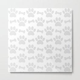 Paper Cut Dog Paws And Bones Pattern Metal Print
