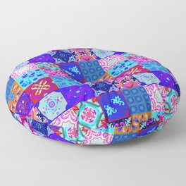 Bohemian Jungle Quilt Tiles 2 Floor Pillow
