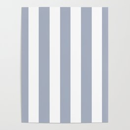 Cadet blue (Crayola) - solid color - white vertical lines pattern Poster