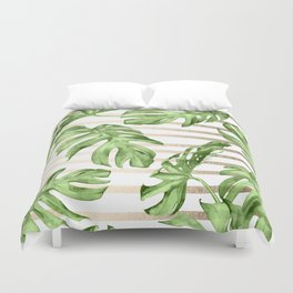 Simply Tropical White Gold Sands Stripes and Palm Leaves Duvet Cover