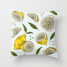 Blue Lemonade Pattern Throw Pillow