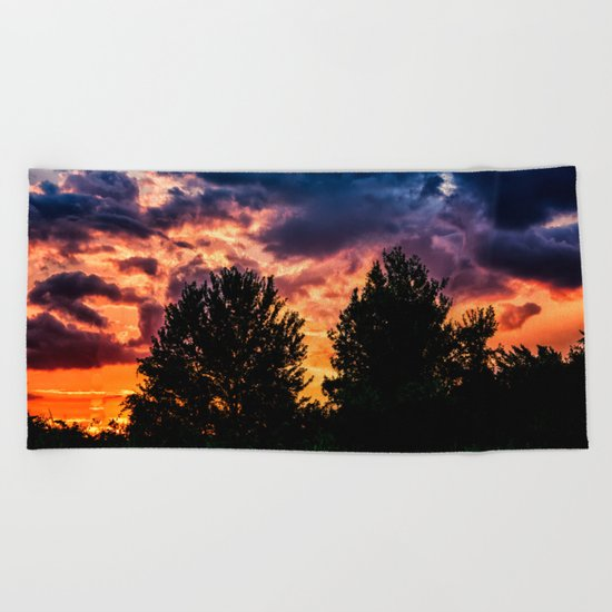 Dry Day Sunset Beach Towel