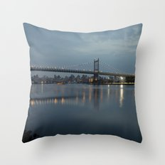 Triborough Bridge at Night. Throw Pillow