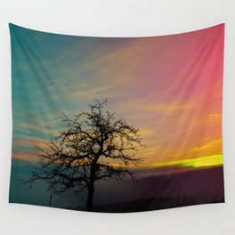 Old tree and colorful sundown panorama | landscape photography Wall Tapestry