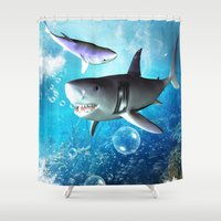 shark Shower Curtains featuring Shark by nicky2342