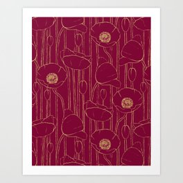 Poppies Field, Hand-drawn Floral Pattern in Deep Red and Gold Texture Art Print