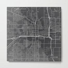 Lansing Map, USA - Gray Metal Print
