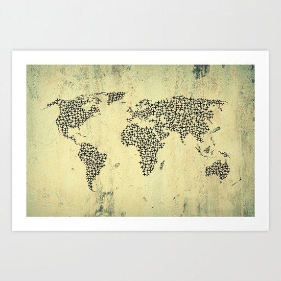 Black Star World Map Art Print