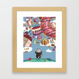 Cat and sweets Framed Art Print